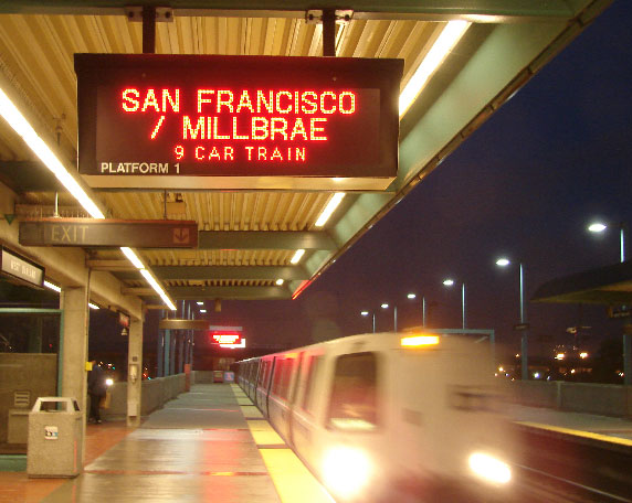 overhead LED displays which present transit information train route ID alerts