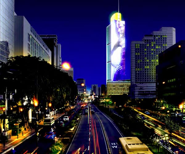 Grand Indonesia Tower with 60,000 square feet of LED array screens