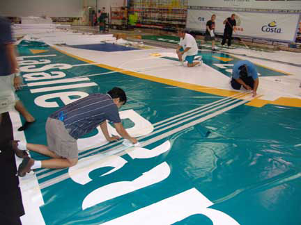 Lasalle Bank sail in production from Photo Sails